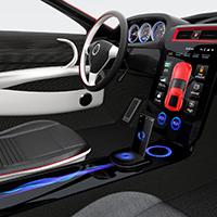 Photo intérieure d'une voiture connectée