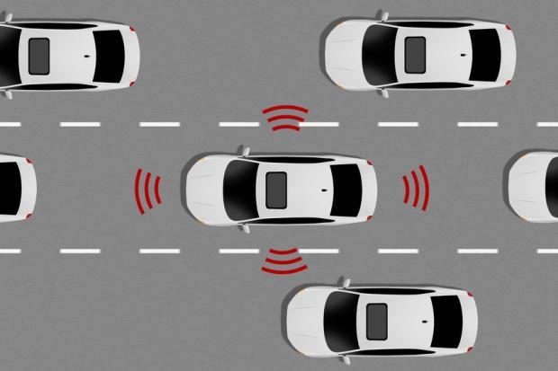 Image d'une voiture détectant d'autres véhicules
