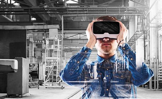 Illustration d'une application de réalité  virtuelle dans l'industrie