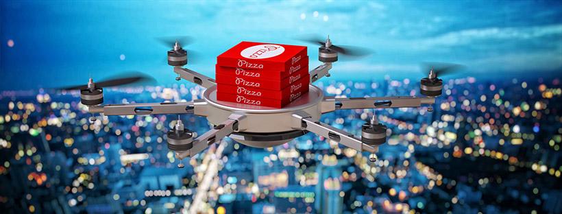 Image 3D futuriste d'un drone livrant des pizzas